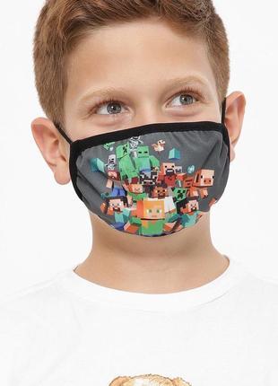 Детские многоразовые маски для детей minecraft