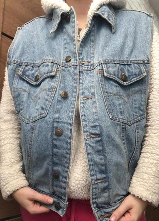 Джинсовая безрукавка очень плотный джинс ,oversize authentic denim