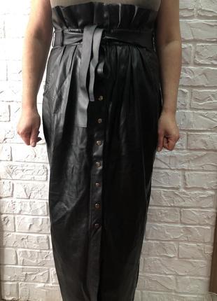 Юбка по щиколотки  под кожу motrya мягкий кожзам на работу под блузку