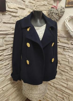 Стильное классическое тёмно синее пальто жакет от h&m