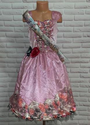 Платье на хеллоуин карнавальное череп скелет мертвая невеста