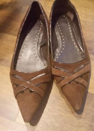 Туфли zara коричневые, замшевые, натуральные