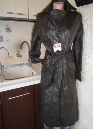 #винтажный кожаный длинный  плащ с поясом #кожа ягненка #