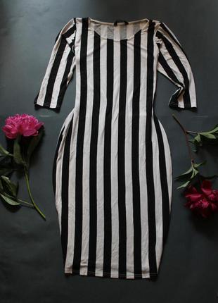 Плаття міді платье миди в полоску