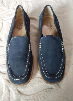 Удобные замшевые туфли мокасины gabor