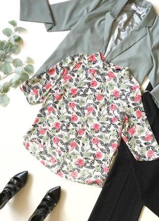 Шок-цена! ⚡️ стильная женская рубашка блуза с рисунком poppy lux р.м