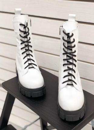 💥белые ботинки на шнурках натуральная кожа. ботинки на толстой подошве