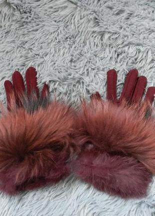 ✅ перчатки демисезон размер универсальный украшены натуральным мехом енот кролик