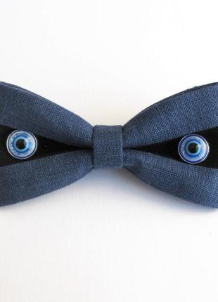 Галстук-бабочка на хеллоуин из синего джинсового цвета льна с черным декор spooky eyes