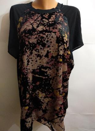 Новая красивая блуза с велюровым рисунком 20/54-56 размера