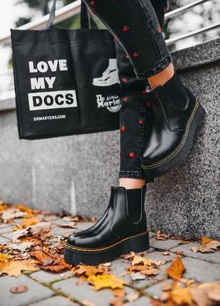 """Ботинки зимние с мехом dr.martens 2976 chelsea """"black"""" хутро черевики"""