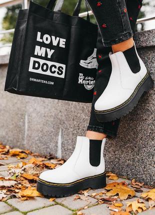 "Ботинки dr.martens 2976 chelsea ""white"" хутро черевики зимние с мехом"