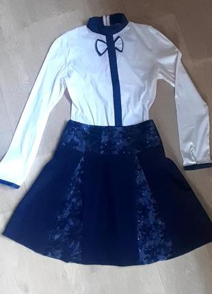 Блузка с длинным рукавом+ юбка