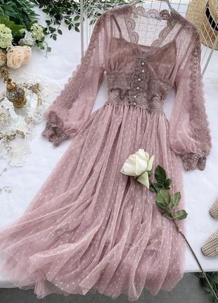Гипюровое вечернее нарядное платье
