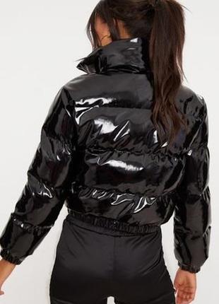 Женский пуховик /куртка дутая лаковая укороченная prettylittlething zara h&m bershka