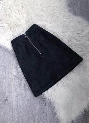 Стильная юбка на высокой талии с молнией под замш