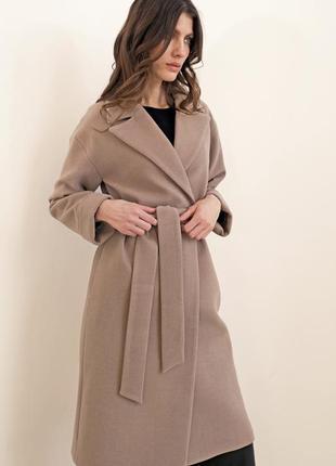 Пальто-халат на запахе цвет camel