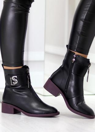 Женские зимние чёрные ботинки