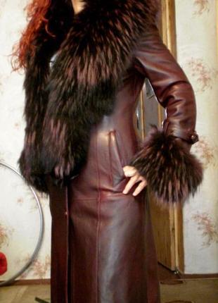 Пальто натуральная кожа и мех/