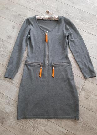 Обтягивающее вязанное платье карандаш платье чехол платье футляр миди р.s - m
