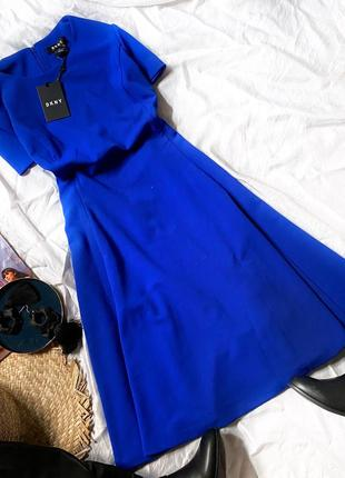 Платье с коротким рукавом расклешенное donna karan