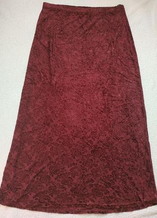 Длинная юбка с бархатным напылением