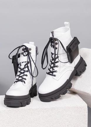 36-40 ботинки осень зима кожаные на шнуровке модные стильные тренд сезона