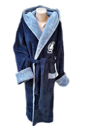 Теплые качественные турецкие мужские длинные халаты, махровый мужской халат с капюшоном