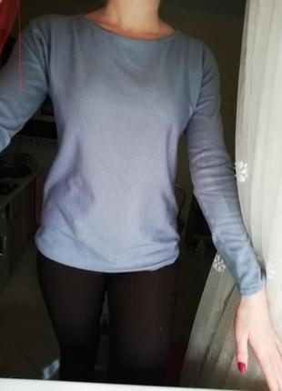 Свитер пуловер серо/голубой.
