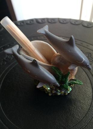 Керамическая статуэтка подставка под зубочистки дельфины
