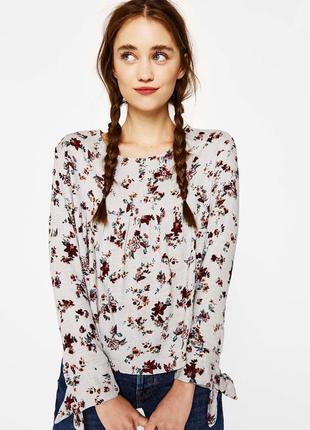 Bershka новая серая блуза цветочный принт
