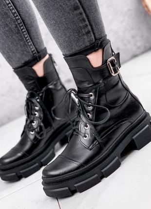 Новые женские кожаные демисезонные чёрные ботинки на стильной подошве
