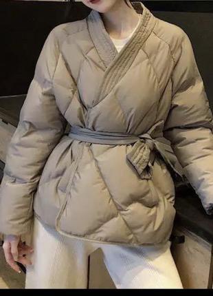 Стеганая куртка пуховик кимоно