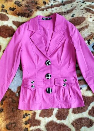Пиджак жакет приталенный розовый