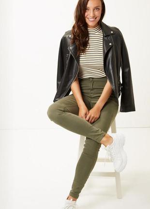 Базовые брюки коттон скинни чинос штаны хакки на высокий рост