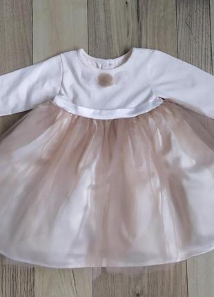 Нарядное фатиновое платье с длинным рукавом для девочки