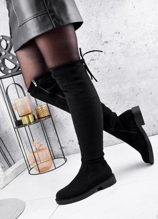 Новые женские зимние чёрные сапоги ботфорты