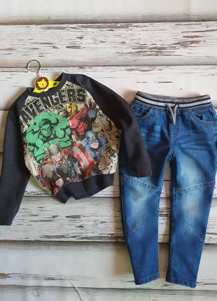 2-4 года комплект утепленные джинсы свитшот