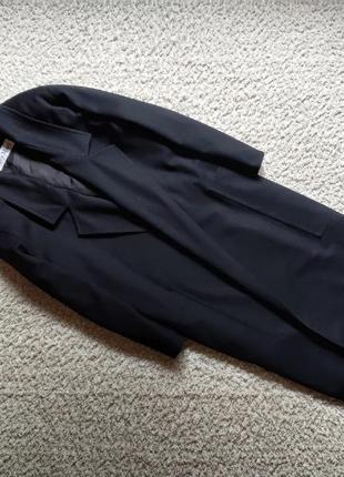Оригинал max mara чёрное винтажное шерстяное пальто без пуговиц