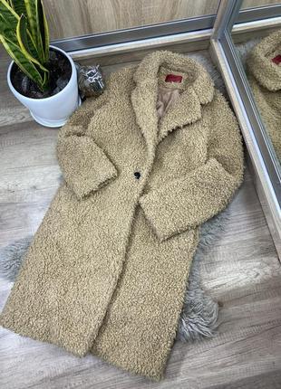 Шикарное пальто женское hugo boss teddy тедди оригинал zara/h&m/bershka