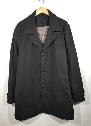 Шерстяное пальто calvin klein l мужское черное
