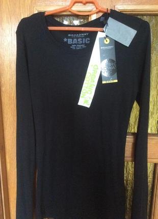Новая базовая черная футболка длинный рукав органический коттон голландия р.36/s