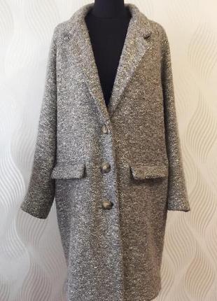 Оверсайз пальто essentiel antwerp премиум бренд шерсть альпака в составе