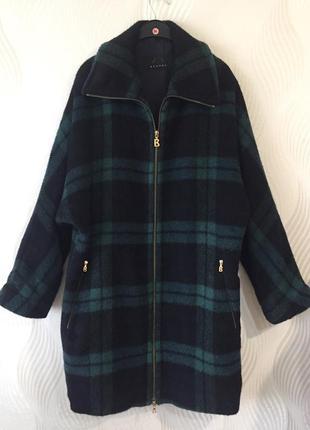 Оверсайз пальто-рубашка в клетку bogner альпака шерсть