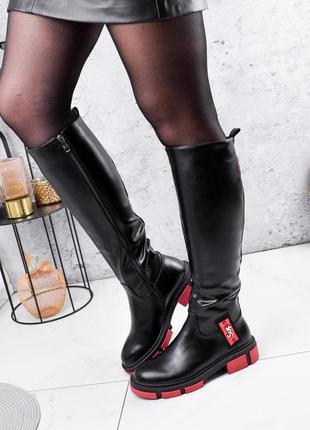 Новые женские высокие демисезонные чёрные сапоги