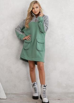 Серо-мятное теплое асимметричное платье с карманами