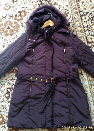 Замечательная теплая куртка с натуральным мехом лисы р. 14-16