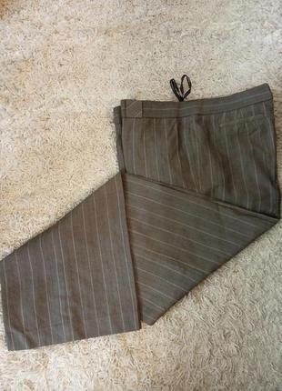 Натуральные теплые брюки, классика, полоска, шерсть, мохер, офис, дресс код