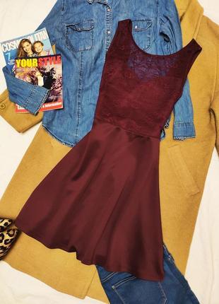 H&m платье марсала бургунди бордо гипюр с открытой спиной