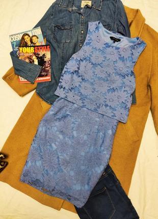 New look платье голубое в цветочный принт миди на подкладке